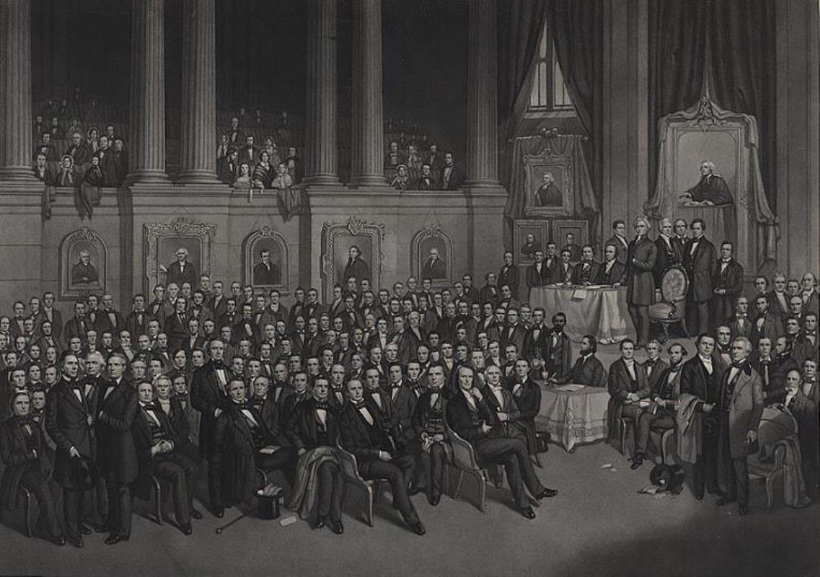 1858년 5월 테네시주 내쉬빌에서 열린 남감리교회 총회 모습. 사진 출처, 미국 의회 도서관 LC-DIG-ppmsca-07829.