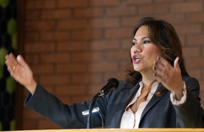 "U.S. Rep. Veronica Escobar tells members of the United Methodist Immigration Task Force, meeting in El Paso, Texas, that U.S. immigration policies have brought the country to ""one of the darkest points in American history for our generation."" Escobar serves the 16th congressional district in Texas. Photo by Mike DuBose, UM News."