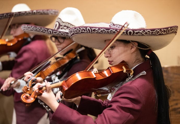 Los Leones, the mariachi band from Lydia Patterson Institute, performs during a dinner meeting at the United Methodist Immigration Summit meeting in El Paso, Texas. Photo by Mike DuBose, UM News.