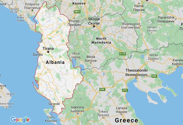 Early on the morning of Nov. 26, a violent 6.4-magnitude earthquake struck Albania, claiming over 20 lives, injuring 600 and collapsing buildings. Courtesy of Google maps.