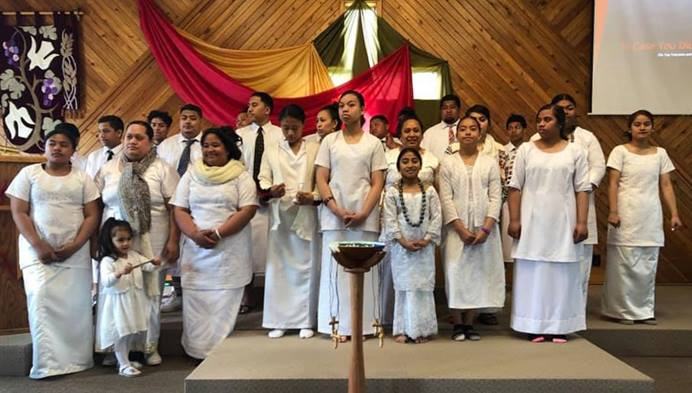 The choir of Anchorage's First Samoan United Methodist Church sings during the Service of Commissioning and Reading of Appointments at the 2019 annual conference held at Christ First United Methodist Church in Wasilla, Alaska. Photo courtesy of the Alaskan Conference.