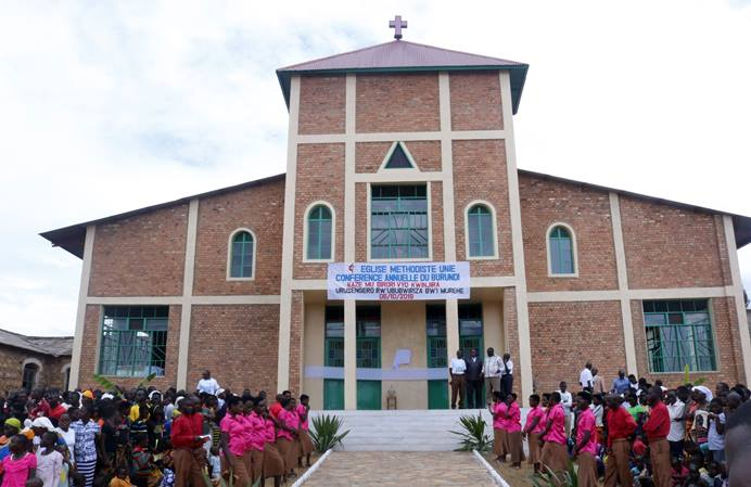 Members gather at the newly built Saint Paul United Methodist Church in Murehe, Burundi. The church, which has 7,300 members, can now hold 3,000 people for Sunday worship. The previous church held only 300 people, and the congregation often held services and revivals beneath a tree on the church grounds. Photo by Pepi Mbabaye, UM News.
