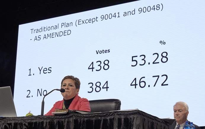 Bishop Cynthia Fierro Harvey observes the results from a February 26, 2019, vote to strengthen The United Methodist Church's policies against homosexuality. The vote came on the last day of the Special Session of the General Conference of The United Methodist Church in St. Louis, Mo. Delegates approved the Traditional Plan, which strengthens penalties for LGBTQIA clergy and prohibits same sex weddings. Photo by Paul Jeffrey, UMNS.