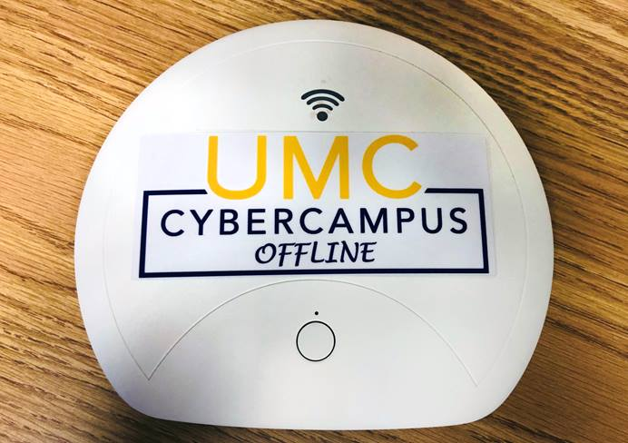 """The portable """"UMC Cyber Campus Offline"""" hotspot device provides digitalized educational materials to areas without internet access. Photo by the Rev. HiRho Park, United Methodist Board of Higher Education and Ministry."""