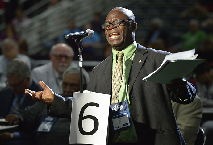 The Rev. Jerry Paye-Manfloe Kulah, a delegate from Liberia, speaks to the 2016 United Methodist General Conference in Portland, Ore. File photo by Paul Jeffrey, UM News.