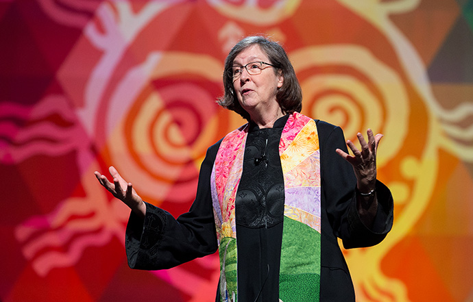 Bishop Elaine Stanovsky gives the sermon during morning worship at the 2016 United Methodist General Conference in Portland, Ore. File photo by Mike DuBose, UM News.