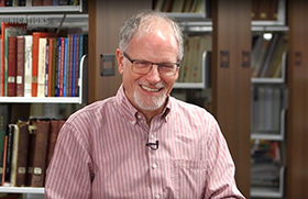 Portrait of L. Dale Patterson, archivist at Archives and History.  Archived video screenshot courtesy of United Methodist Communications.