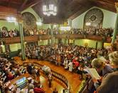 Some 575 people fill First United Methodist Church in Little Rock, Ark., for a Resist Harm worship service. The service was part of a nationwide effort to show support for LGBTQ Christians and counter the denomination's Traditional Plan, which went into effect Jan. 1. Photo courtesy of Resist Harm.
