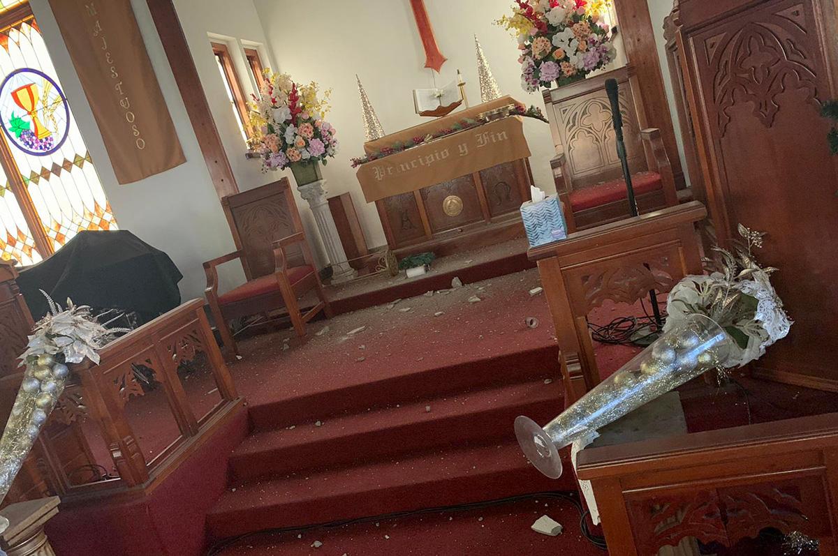 La Iglesia Metodista de la Resurrección en Ponce, Puerto Rico, sufrió grandes daños debido a la serie de terremotos que han sacudido el área desde el 28 de diciembre. Foto cortesía de la Iglesia Metodista de Puerto Rico.
