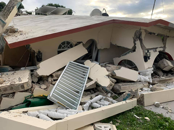 A home in Guayanilla, Puerto Rico, lies in ruins following a series of earthquakes. Hundreds of homes along the island's southern coast were destroyed or severely damaged, leaving many people afraid to sleep indoors. Photo courtesy of the Methodist Church of Puerto Rico.
