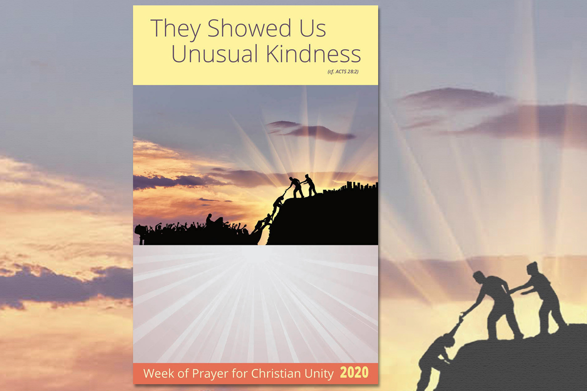 """The Week of Prayer for Christian Unity is Jan. 18-25. This year's theme, selected by representatives from Christian churches in Malta, is """"They Showed Us Unusual Kindness."""" Poster image courtesy of Graymoor Ecumenical & Interreligious Institute."""