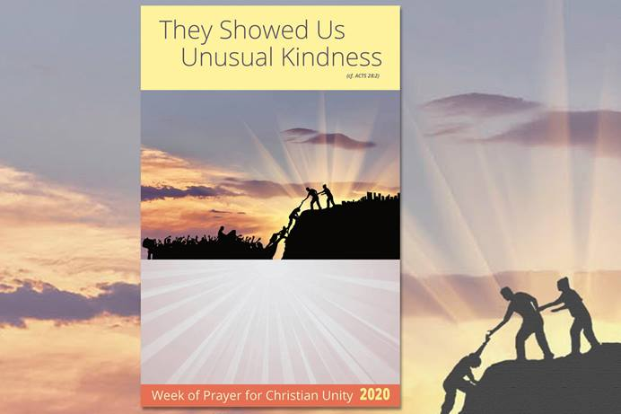 "The Week of Prayer for Christian Unity is Jan. 18-25. This year's theme, selected by representatives from Christian churches in Malta, is ""They Showed Us Unusual Kindness."" Poster image courtesy of Graymoor Ecumenical & Interreligious Institute."