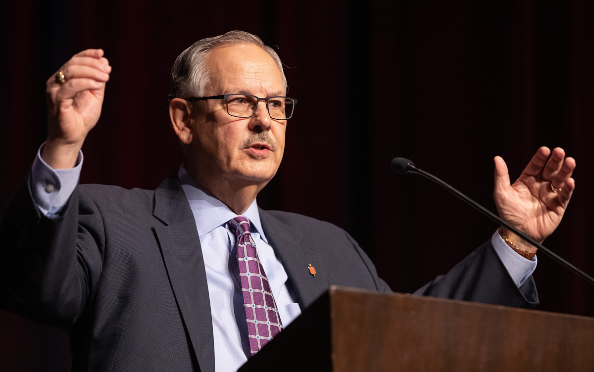 United Methodist Bishop Bruce Ough gives the sermon during opening worship at the 2020 Pre-General Conference Briefing in Nashville, Tenn. Photo by Mike DuBose, UM News.