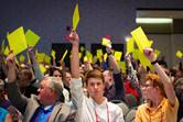 Members of the Michigan Conference vote on legislation in June 2019. The same conference has been called to a special session on March 7 to consider whether legislation for the Protocol of Reconciliation & Grace Through Separation will be presented to the 2020 General Conference in May. File photo by Jonathan Trites, Michigan Conference Communications.