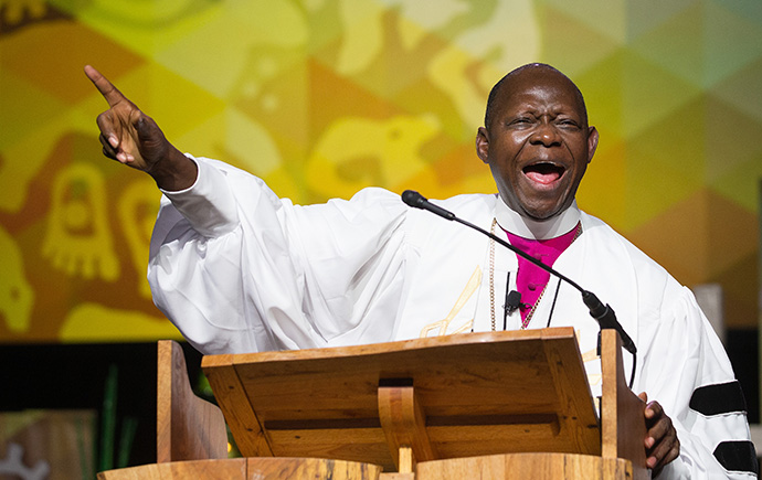 Bishop John Yambasu of Sierra Leone gives the sermon during morning worship at the 2016 United Methodist General Conference in Portland, Ore. The Sierra Leone Conference will soon consider forwarding protocol legislation to the 2020 General Conference. File photo by Mike DuBose, UM News.