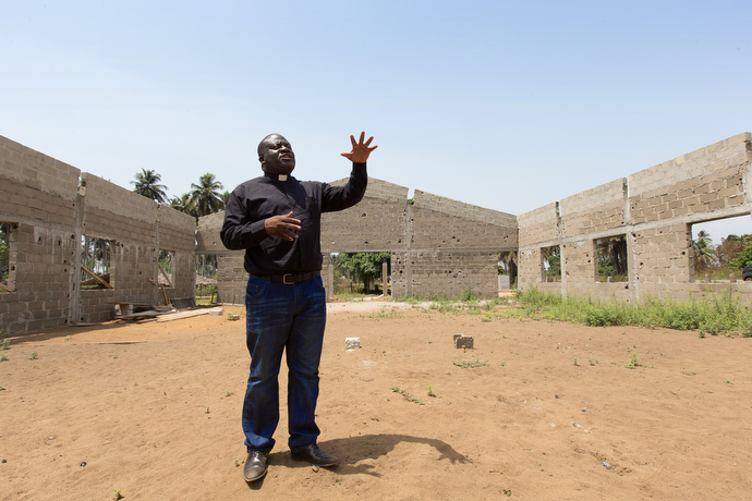 The Rev. Jean Claude Masuka Maleka hopes to raise funds that would allow him to complete construction of a new United Methodist church in the village of Akrou, Côte d'Ivoire.