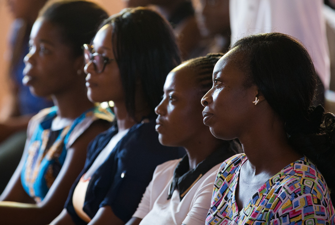 Women listen during a Bible study at Nazareth United Methodist Church. Photo by Mike DuBose, UMNS.