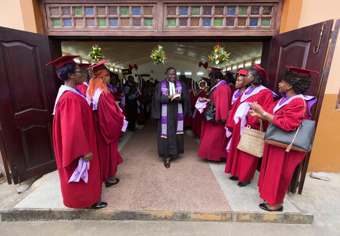 The Rev. Jean Claude Masuka Maleka leads the recessional following worship at Nazareth United Methodist Church. Photo by Mike DuBose, UMNS.