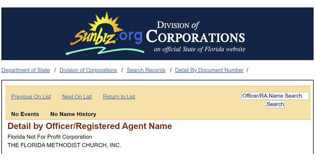 Encabezado del documento eléctrico de registro de la Iglesia Metodista de Florida Inc. registrada el pasado 7 de febrero de 2020. Tres miembros del gabinete de la Conferencia Anual de Florida firmaron los documentos, aunque posteriormente dos de ellos/as decidieron retirar sus nombres. Captura de pantalla del documento registrado en la División de Corporaciones del estado de Florida.