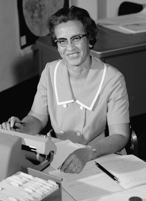 NASA research mathematician Katherine Johnson works at her desk at Langley Research Center in Hampton, Va., in 1966. Photo by NASA.