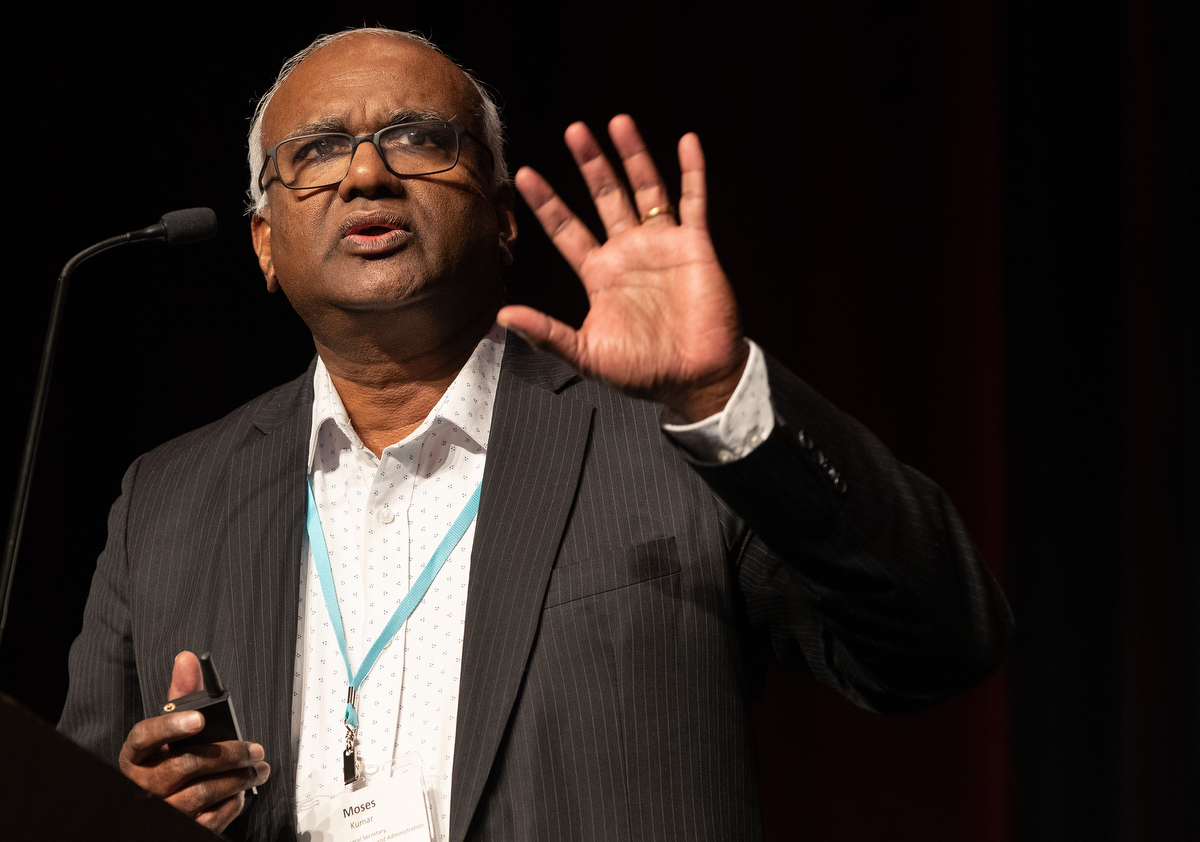 Moses Kumar discusses the denomination's budget at the 2020 Pre-General Conference Briefing in January in Nashville, Tenn. Kumar, the top executive of the General Council on Finance and Administration, helped lead a Feb. 21 online meeting dealing with the denomination's financial challenges. File photo by Mike DuBose, UM News.
