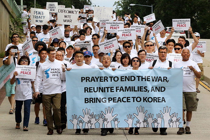 A march to Farragut Square is part of the Korean Peace Festival and Vigil held July 26-28, 2018 in Washington. File photo by Thomas Kim, UM News.
