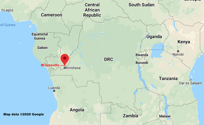 Brazzaville, the capital of the Republic of Congo, sits along the Congo River opposite Kinshasa, the capital of the Democratic Republic of Congo. Central Congo Bishop Daniel Lunge is working with local leaders to establish the first United Methodist Church presence in the Republic of Congo. Map data ©2020 Google.