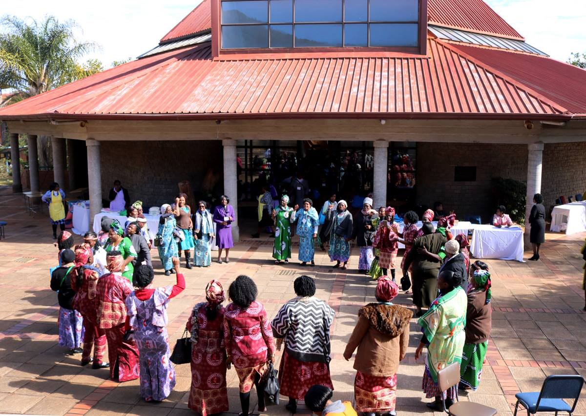 Clergywomen gather in fellowship outside the Kwang Lim Chapel at Africa University in Mutare, Zimbabwe, during the July 10-14, 2018, African United Methodist Clergywomen Leadership Development Conference. File photo by Eveline Chikwanah, UM News.