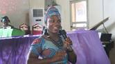 Mariatu Kogbaka, a former inmate at Freetown Female Correctional Center, shares her story during a thanksgiving service at Brown Memorial United Methodist Church in Freetown, Sierra Leone, Feb. 9. Kogbaka was one of 27 women released on presidential parole in April. She said the Sierra Leone Conference's prison ministry played a significant role in securing her freedom. Photo by Phileas Jusu, UM News.