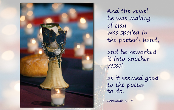 A communion chalice, broken in protest of The United Methodist Church's stance on homosexuality, was mended and returned to the altar as a symbol of healing for closing worship at the 2004 United Methodist General Conference in Pittsburgh. Graphic by Laurens Glass; File photo by Mike DuBose, UM News.