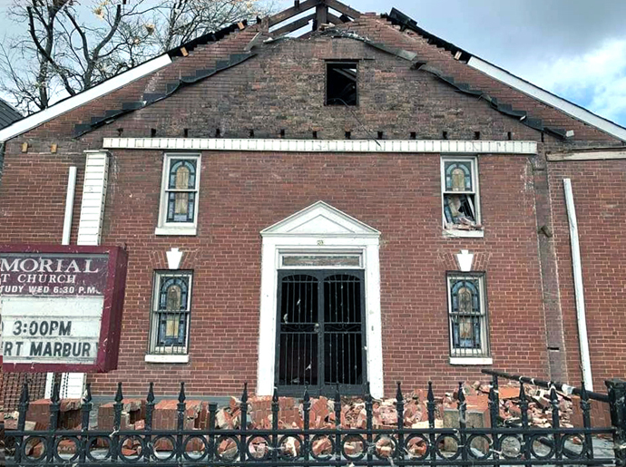 A view of Braden Memorial United Methodist Church in Nashville, Tenn., shows extensive damage to the historic church after severe storms hit Nashville and areas of central Tennessee on March 3. Photo by Adam Holdren, courtesy of the Glendale United Methodist Church Facebook page.