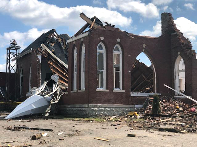 Dodson Chapel United Methodist Church in Hermitage, Tenn., is among the many Nashville area structures devastated by a March 3 tornado. Photo by the Rev. Chris Seifert.