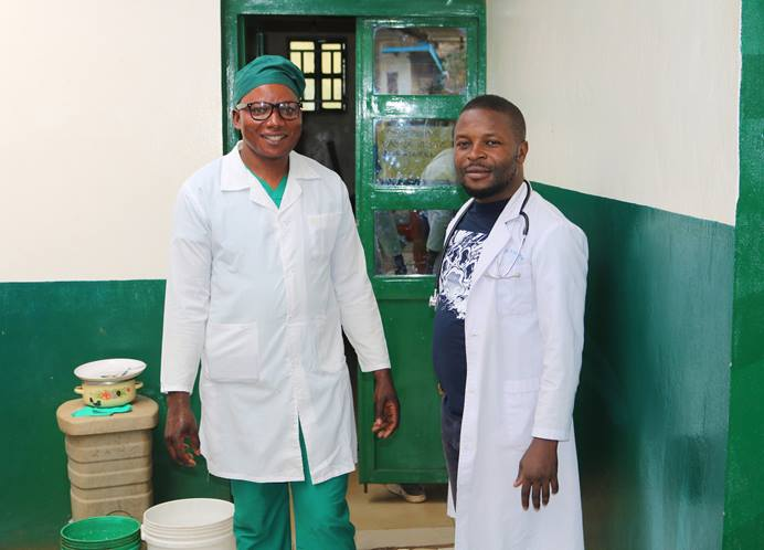 Nurse Leonard Shako (left) and Dr. Djimmy Kasongo, director of United Methodist Irambo Health Center in Bukavu, Congo, were among a group of United Methodist health workers who gathered in February to discuss the Ebola epidemic and ways to make prevention efforts more effective. Photo by Philippe Kituka Lolonga, UM News.