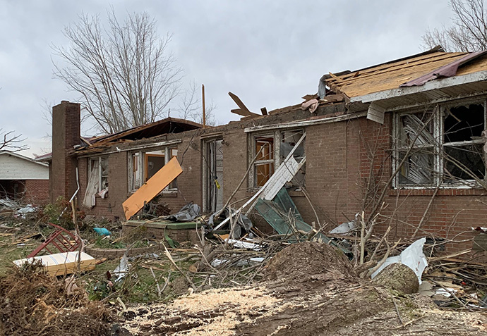 The Rev. Jackie Wheeler's home, just outside Cookeville, Tenn., has been declared a total loss from damage suffered in a March 3 tornado. Wheeler is a 74-year-old retired United Methodist elder still serving a church in the area. Photo by Avery Bain.
