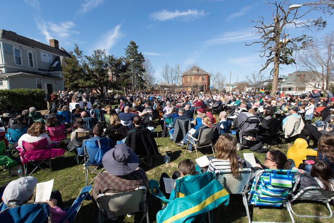 Hundreds of church members and guests gather for worship in the park adjacent to East End United Methodist Church in Nashville, Tenn., on the first Sunday after a tornado struck the church. Photo by Mike DuBose, UM News.