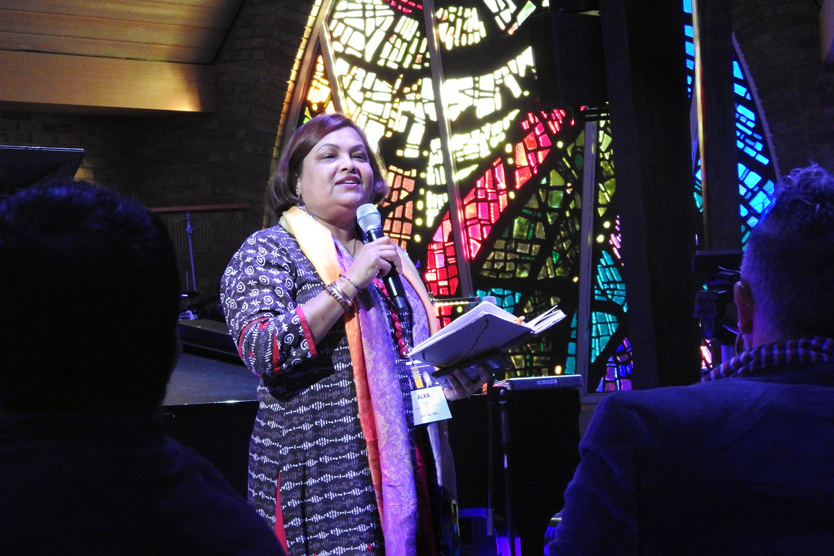 "The Rev. Alka Lyall speaks during March 6 opening worship of the ""Trailblazing the Liberation Methodist Church"" event, held at Dallas' Preston Hollow United Methodist Church and put on by the advocacy group UM-Forward. Photo by Sam Hodges, UM News."