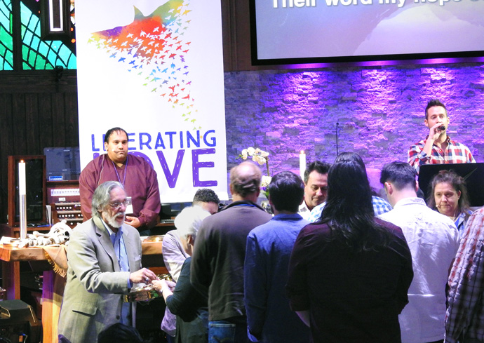 """Worship services, including communion, were a part of the March 6-8 """"Trailblazing the Liberation Methodist Church"""" event, held at Preston Hollow United Methodist Church in Dallas, and sponsored by UM-Forward. Photo by Sam Hodges, UM News."""