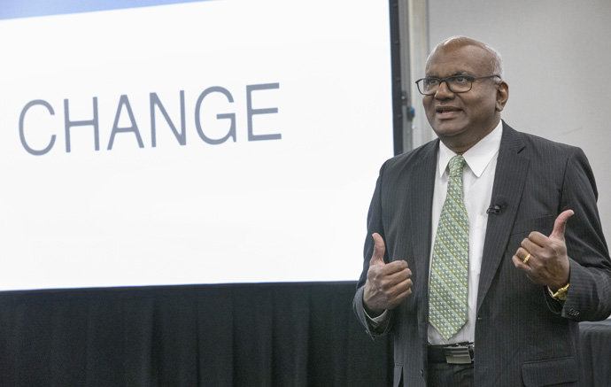 The Rev. Moses Kumar speaks during the meeting of the General Council of Finance and Administration board held March 9-10 at Scarritt Bennett Center in Nashville, Tenn. He is the agency's top executive. Photo by Kathleen Barry, UM News.