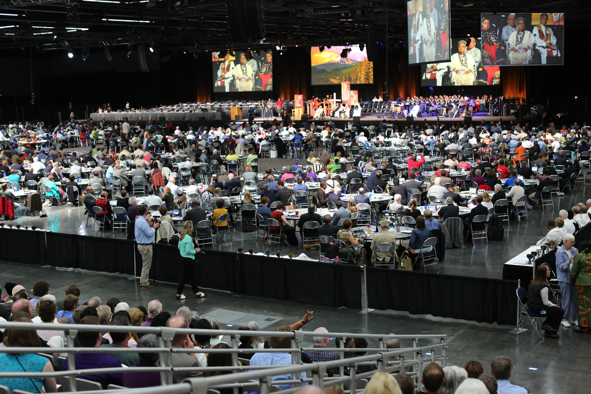 Worship filled with many languages and colors opened the 2016 United Methodist General Conference in Portland, Ore. With the coronavirus pandemic threatening lives around the globe, bishops are asking for a postponement of the 2020 General Conference. File photo by Kathleen Barry, UM News.