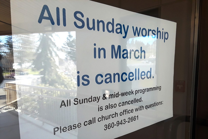 Churches in the Pacific Northwest, such as First United Methodist of Olympia, Washington, are taking strong measures in response to the spread of the coronavirus. Photo courtesy First United Methodist Church of Olympia, Washington.