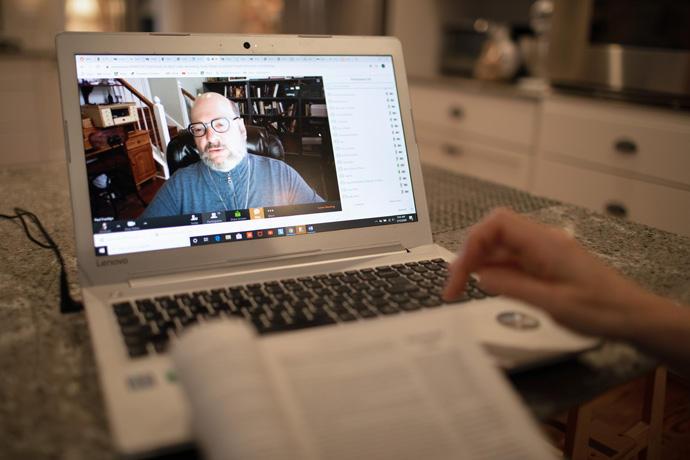 Bible scholar Paul Franklyn helps lead the Friendship Sunday school class of Belmont United Methodist Church in Nashville, Tenn., by video conference Sunday, March 15, 2020, after church leadership encouraged people to worship from home in response to the coronavirus. Photo by Mike DuBose, UM News.