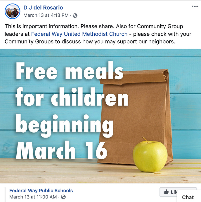 A post on the Rev. DJ del Rosario's Facebook page asks community care groups at Federal Way (Wash.) United Methodist Church to brainstorm on tangible and healthy ways to continue caring for neighbors during the continuing spread of COVID-19. Image courtesy of the Rev. DJ del Rosario.
