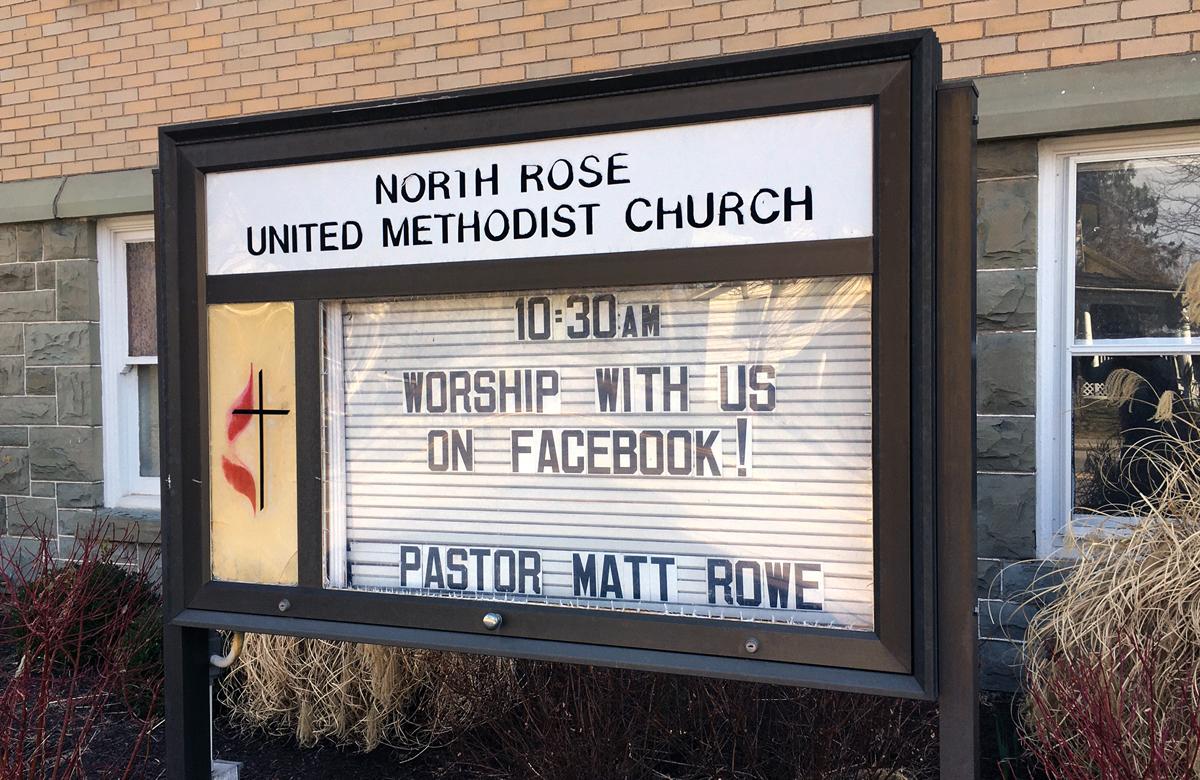 A Igreja Metodista Unida de North Rose, em North Rose, NY, está usando a mídia social para adoração e para reuniões de pequenos grupos durante a ameaça do coronavírus. Foto cedida pela Igreja Metodista Unida de North Rose.