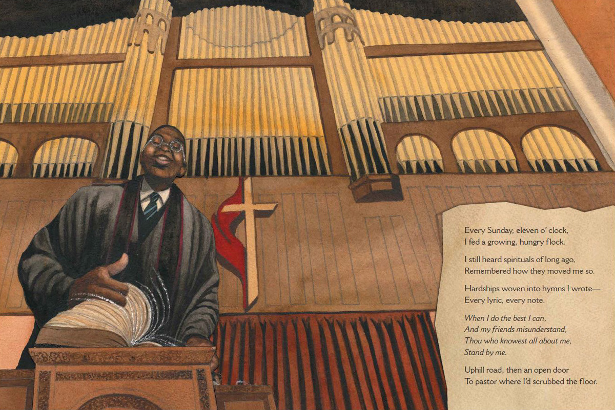 "Art from the book ""By and By: Charles Albert Tindley, The Father of Gospel Music,"" written by Carole Boston Weatherford and illustrated by Bryan Collier. The story page includes the text, ""I still heard spirituals of long ago, Remembered how they moved me so. Hardships woven into hymns I wrote — Every lyric, every note."" Image courtesy of Simon & Shuster."