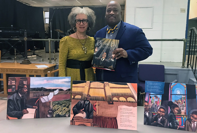 "Author Carole Boston Weatherford and illustrator Bryan Collier share their new children's picture book, ""By and By: Charles Albert Tindley, The Father of Gospel Music,"" during a Sunday afternoon social at history Tindley Temple UMC in Philadelphia. Photo courtesy of Carole Weatherford."
