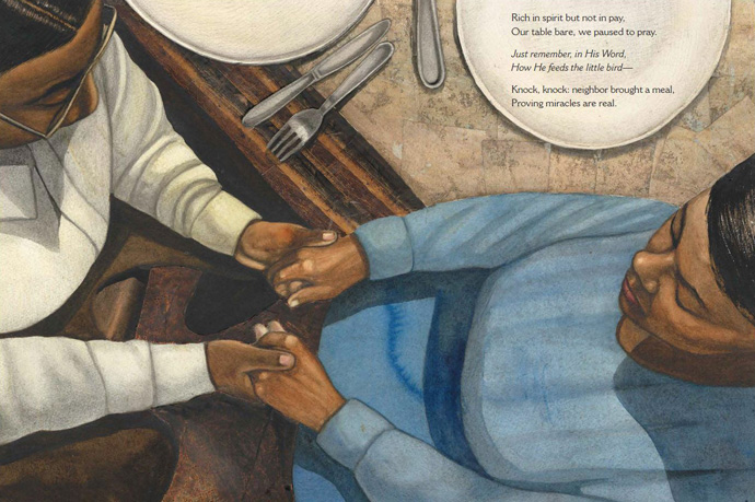 "Art from ""By and By: Charles Albert Tindley, The Father of Gospel Music,"" a new children's book, features an empty table but a faithful prayer: ""Just remember, in His Word, How He feeds the little bird — Knock, knock: neighbor brought a meal, Proving miracles are real."" Image courtesy of Simon & Shuster."