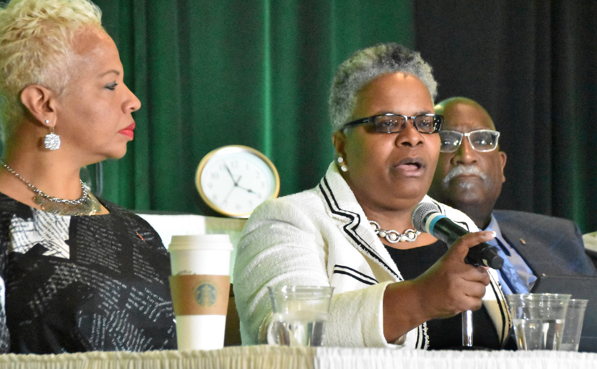 United Methodist Bishops Tracy S. Malone (left) LaTrelle Easterling (center) and Gregory V. Palmer take part in a panel discussion on major structural changes being proposed to General Conference and the views of black United Methodist leaders during the Black Methodists for Church Renewal meeting in Kansas City, Mo. Photo by John W. Coleman.