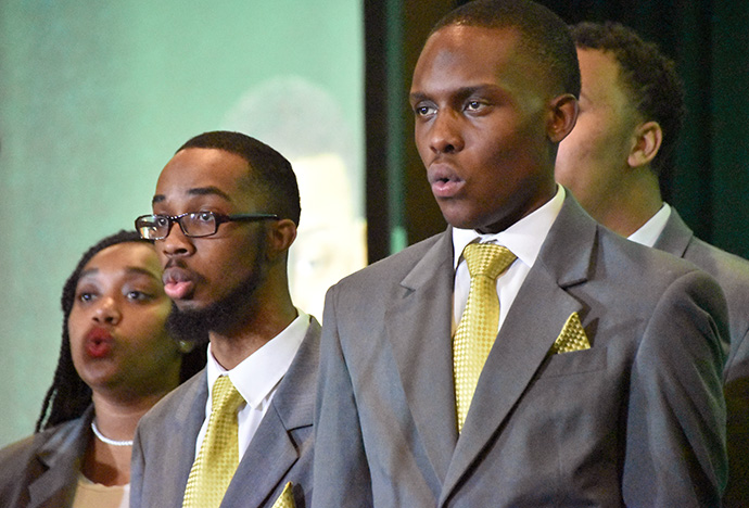 Members of the Philander Smith College choir sing during the Black Methodists for Church Renewal meeting in Kansas City, Mo. Philander Smith, in Little Rock, Ark., is one of the historically black colleges and universities supported by The United Methodist Church. Photo by John W. Coleman.