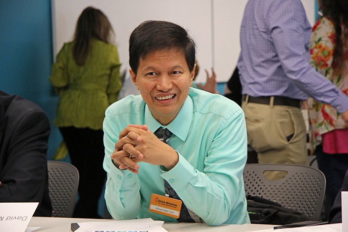 Bishop Pedro M. Torio Jr., Baguio Area, Philippines, takes part in the Spring 2017 meeting of the United Methodist Board of Global Ministries at its Atlanta headquarters. The coronavirus outbreak prohibited Torio and his fellow board members from gathering there for their most recent meeting. Instead, they met online March 20. File photo by Cynthia Mack, Global Ministries.