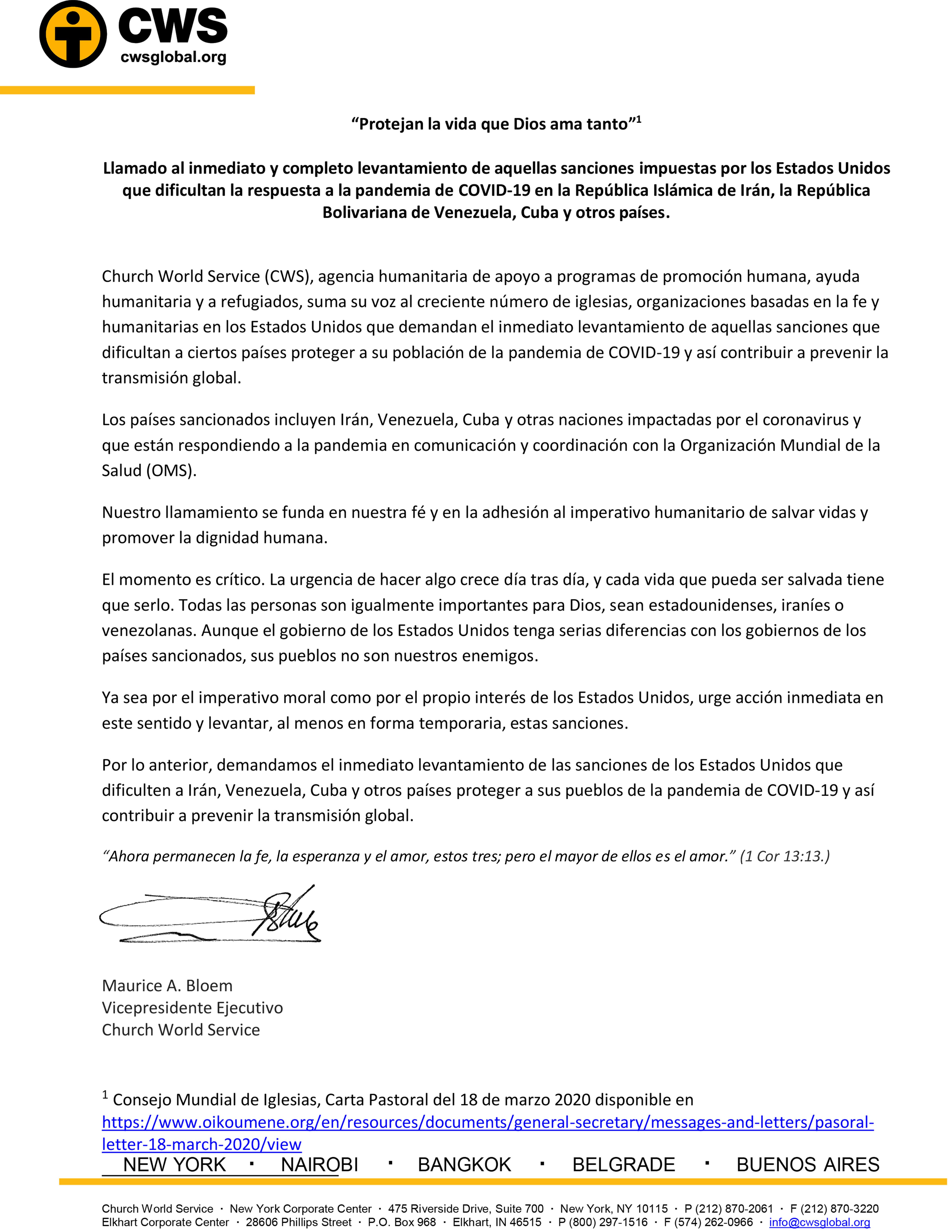 Carta de CWS.
